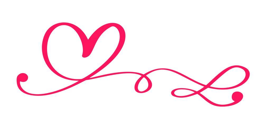 Cuore calligrafico disegnato a mano rosso giorno di San Valentino di vettore. Elemento di design di vacanza. Icona love decor per web, matrimonio e stampa. Illustrazione di lettering calligrafia isolato vettore