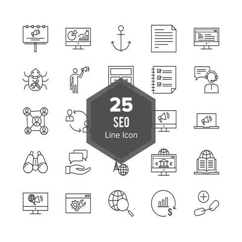 Set di icone di ottimizzazione SEO Search Engine Line 25 vettore