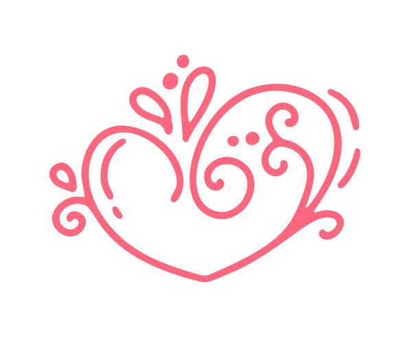 Cuore d'annata calligrafico disegnato a mano di giorno di San Valentino di vettore rosso di monoline. San Valentino di elemento di design di vacanza. Icona love decor per web, matrimonio e stampa. Illustrazione di calligrafia isolata