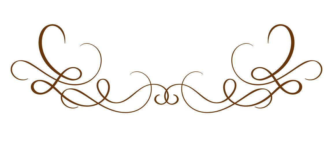 Vector Hand Drawn Calligraphic Separator. Spring Flourish Design Element. Decorazioni in stile floreale chiaro per biglietto di auguri, web, matrimonio e stampa. Isolato su sfondo bianco Calligrafia e lettering illustrazione