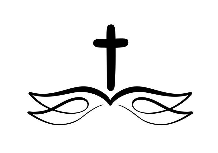 Illustrazione vettoriale di Christian Logo. Emblema con croce e Sacra Bibbia. Comunità religiosa. Elemento di design per poster, logo, badge, segno