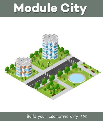 La città ha fissato la proiezione isometrica 3D del paesaggio di vista superiore del quarto vettore