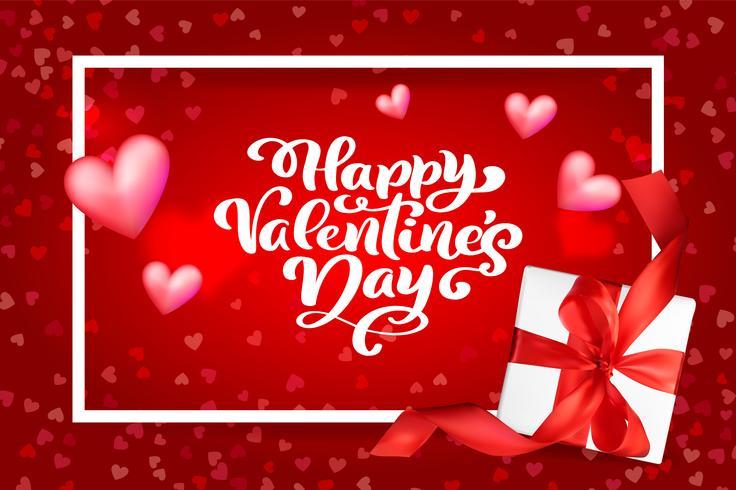 Disegno vettoriale di tipografia Happy Valentines Day per biglietti di auguri e poster. Testo di vettore di San Valentino su uno sfondo rosso vacanze. Illustrazione di celebrazione del modello di progettazione