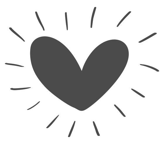 Siluetta scandinava disegnata a mano dell'icona del cuore di giorno di Velentines. Vettore semplice contorno simbolo di San Valentino. Elemento di design isolato per web, matrimonio e stampa