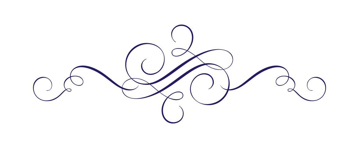 Elemento di disegno fiorito disegnato a mano di vettore calligrafico. Swirl decori in stile leggero per la sicurezza, il web, il matrimonio e la stampa. Isolato su sfondo bianco Calligrafia e lettering illustrazione