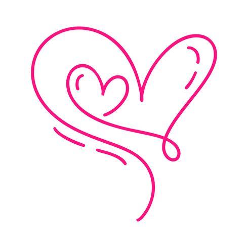 Due cuori calligrafici disegnati a mano di giorno di biglietti di S. Valentino rossi di vettore della coppia. Illustrazione lettering calligrafia. San Valentino di elemento di design di vacanza. Icona love decor per web, matrimonio e stampa. Isolato
