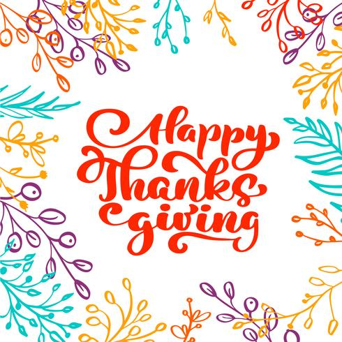 Happy Thanksgiving Calligraphy Text vettore
