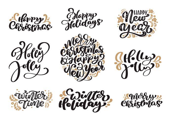 L'insieme del testo di vettore dell'iscrizione di calligrafia d'annata di Buon Natale con l'inverno che disegna gli elementi scandinavi di progettazione. Per art design, mockup brochure style, opuscolo stampa opuscolo, poster