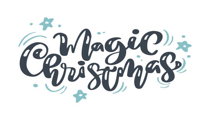 Il testo magico di vettore dell'iscrizione di calligrafia di Natale magico con l'inverno disegna la decorazione flourish scandinava. Per il design artistico, stile brochure mockup, copertina idea banner, volantino stampa opuscolo, poster