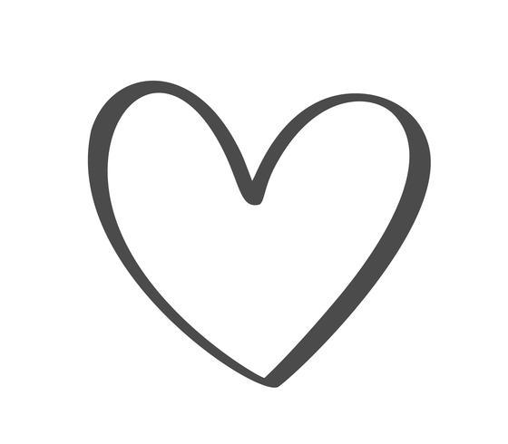 Cuore calligrafico disegnato a mano di Grey Vector Valentines Day. San Valentino di elemento di design di vacanza. Icona love decor per web, matrimonio e stampa. Illustrazione di lettering calligrafia isolato