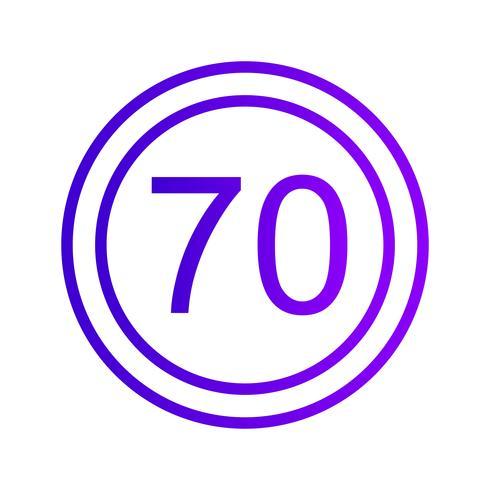 Icona limite di velocità vettoriale 70