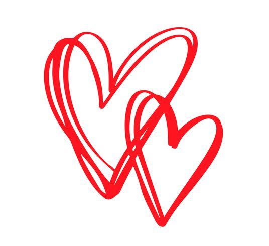 Cuori calligrafici disegnati a mano di giorno di biglietti di S. Valentino rossi di vettore delle coppie. Elemento di design di vacanza. Icona love decor per web, matrimonio e stampa. Illustrazione di lettering calligrafia isolato