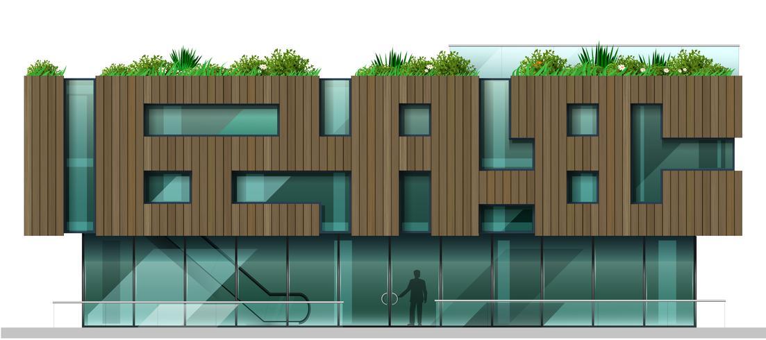 La facciata è un moderno centro commerciale vettore