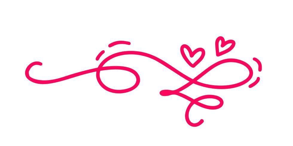 due cuori calligrafici disegnati a mano. Illustrazione lettering calligrafia. San Valentino di elemento di design di vacanza. Icona love decor per web, matrimonio e stampa. Isolato vettore