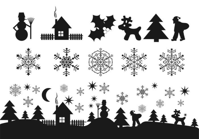 Pacchetto di icone nere di Natale vettore