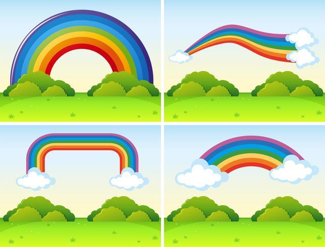 Scene con forme diverse di arcobaleni vettore