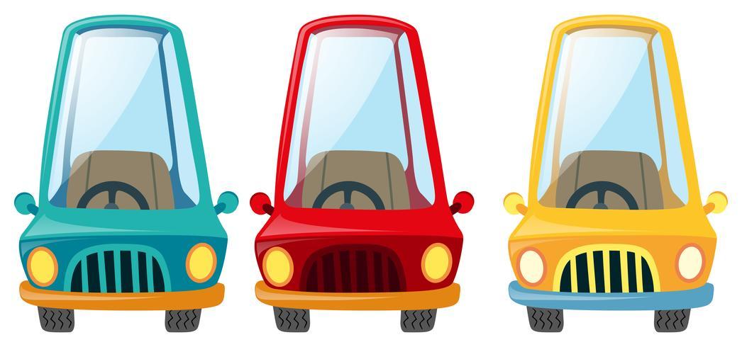 Automobili in tre diversi colori vettore
