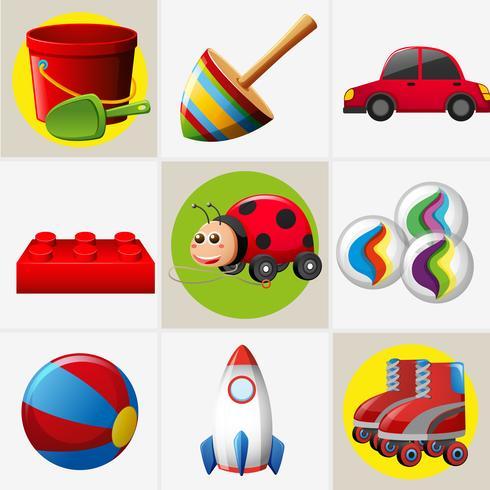 Diversi disegni di giocattoli vettore