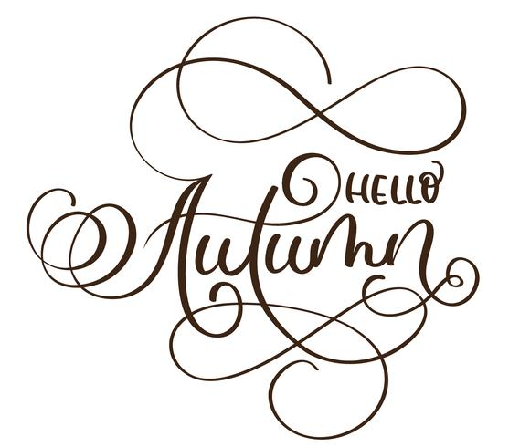 Ciao parole autunnali su sfondo bianco. Illustrazione disegnata a mano EPS10 di vettore dell'iscrizione di calligrafia