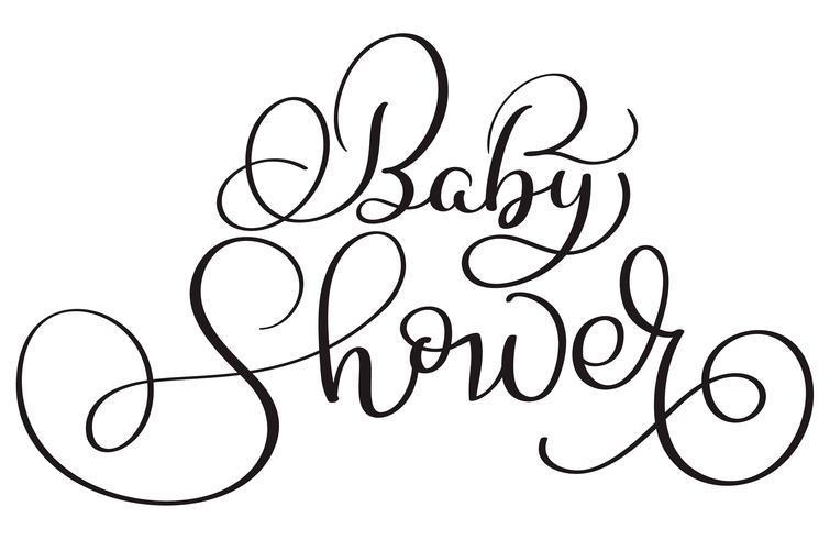 testo della doccia di bambino su fondo bianco. Illustrazione disegnata a mano EPS10 di vettore dell'iscrizione di calligrafia