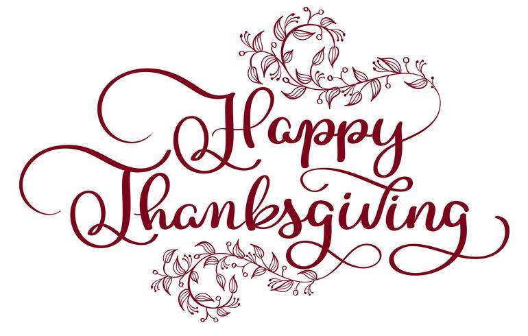 Testo rosso di ringraziamento felice con i whor decorativi d'annata florish su fondo bianco. Illustrazione disegnata a mano EPS10 di vettore dell'iscrizione di calligrafia