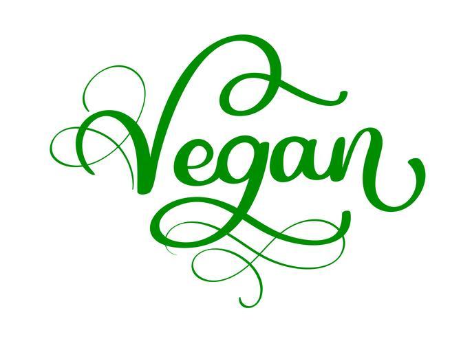 Scritte di calligrafia scritte a mano vegan con foglia per la progettazione di menu bar. Pennello lettering Elemento per etichette, loghi, badge. Menu vegano Illustrazione vettoriale