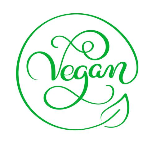 Illustrazione vettoriale di Vegan Calligraphy lettering testo di parola. concetto di cibo. Lettere scritte a mano per ristorante, menu bar. Elementi per etichette, loghi, badge, adesivi