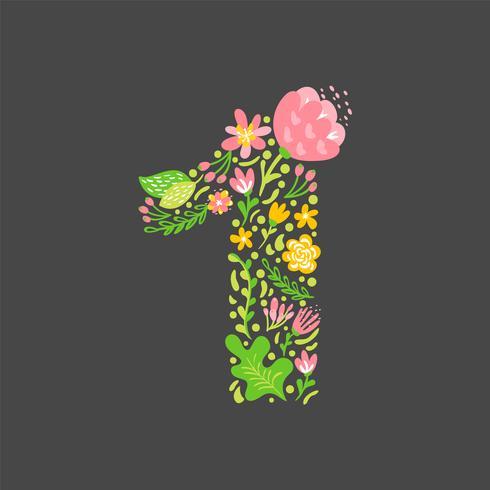 Estate floreale Numero 1 uno. Alfabeto maiuscolo di nozze capitale del fiore. Carattere colorato con fiori e foglie. Illustrazione vettoriale stile scandinavo