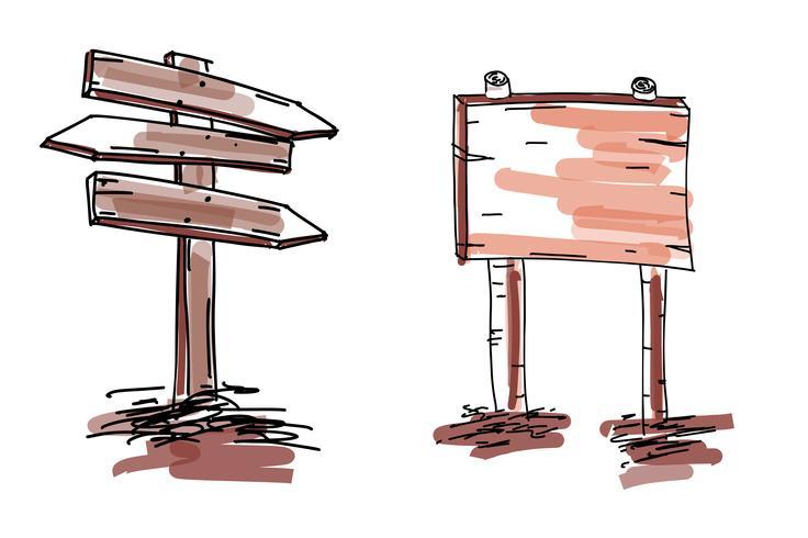 Insieme di segni e frecce di legno di doodle disegnato a mano. Illustrazione vettoriale EPS