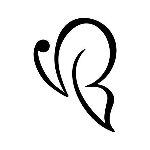 Logo di calligrafia disegnato a mano di farfalla. Concetto cosmetico di bellezza Elemento di vettore di ecologia cantare. Progettazione dell'icona di eco dell'illustrazione per nozze e giorno di festa, cartolina d'auguri