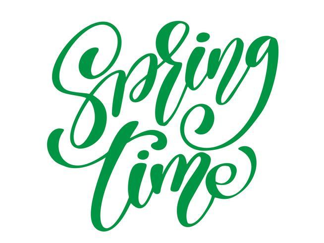 Tempo di primavera. Disegnato a mano calligrafia e pennello lettering penna. design per biglietto di auguri vacanza e invito di vacanze di primavera stagionali. Tipografia divertente dell'inchiostro del pennello per sovrapposizioni di foto, stampa di  vettore