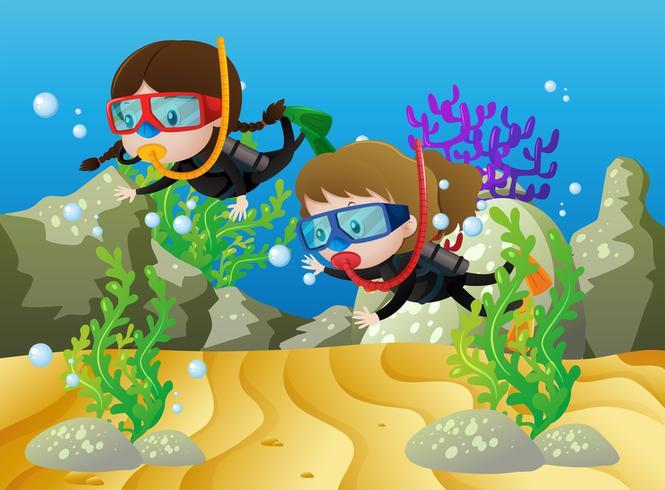 Scena con due ragazze che si tuffano sotto il mare vettore