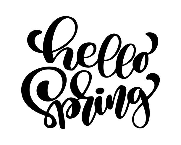 Ciao Primavera. Disegnato a mano calligrafia e pennello lettering penna. design per biglietto di auguri vacanza e invito di vacanze di primavera stagionali. Tipografia divertente dell'inchiostro del pennello per sovrapposizioni di foto, stampa di t-sh vettore