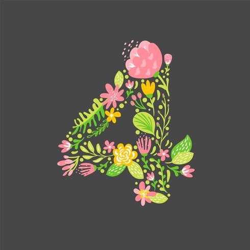 Estate floreale Numero 4 quattro. Alfabeto di nozze capitale del fiore. Carattere colorato con fiori e foglie. Illustrazione vettoriale stile scandinavo
