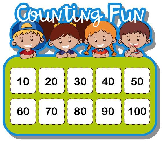 Foglio di lavoro matematico per contare i numeri vettore
