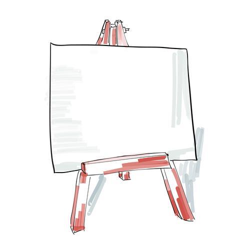 cavalletto con tela bianca stile doodle, illustrazione schizzo vettore