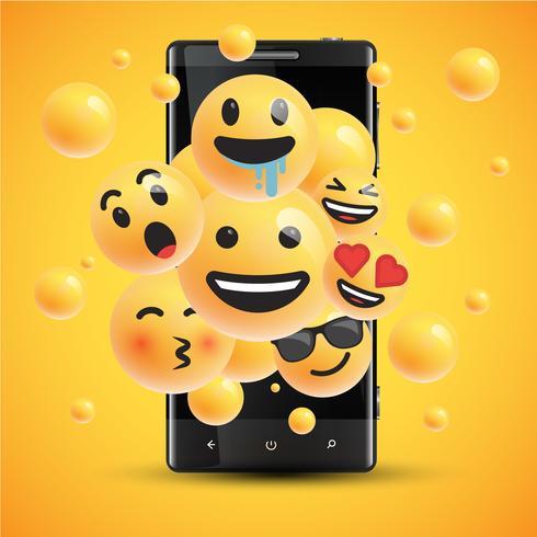Diversi smiley realistico davanti a un cellulare, illustrazione vettoriale