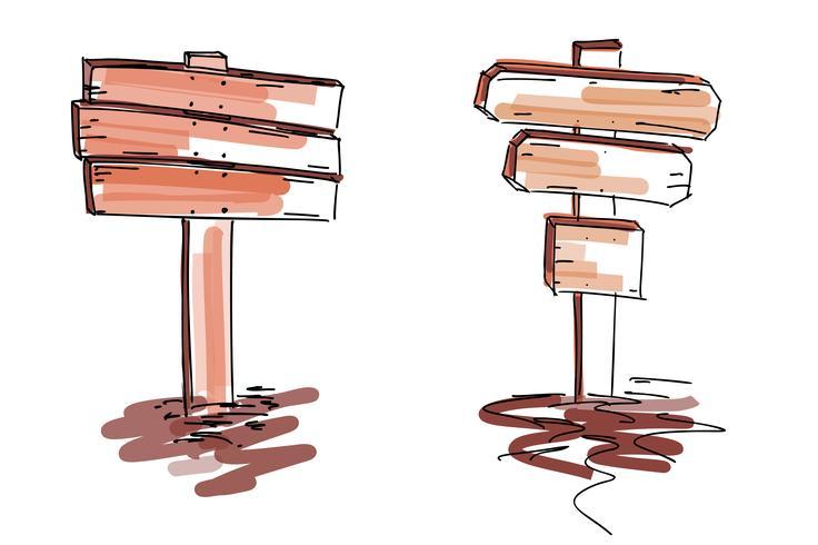 Insegne in legno Illustrazione vettoriale isolato su sfondo bianco