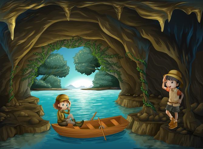 Le due coraggiose ragazze della caverna vettore
