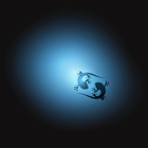 Una siluetta realistica di due lucertole, illustrazione di vettore