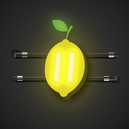 Frutta al neon realistico con console, illustrazione vettoriale