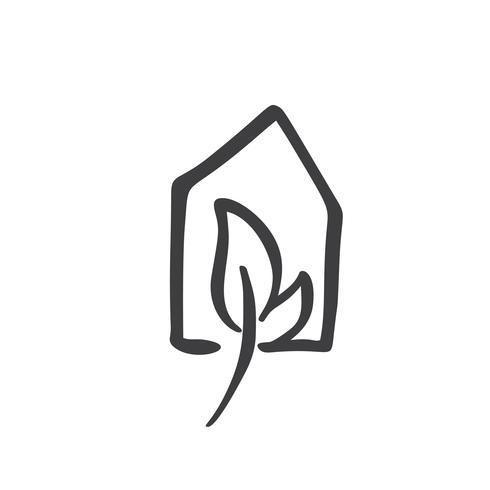 Foglia Eco House Natura semplice di calligrafia Icona di vettore bio. Estate Architecture Costruzione per il design. Elemento di giardino verde logo disegnato a mano casa d'epoca di arte