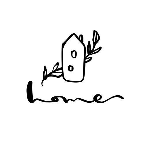 Foglia Eco House Natura semplice di calligrafia Icona di vettore bio. Estate Architecture Costruzione per il design. Elemento di giardino verde logo disegnato a mano dell'annata di casa di arte