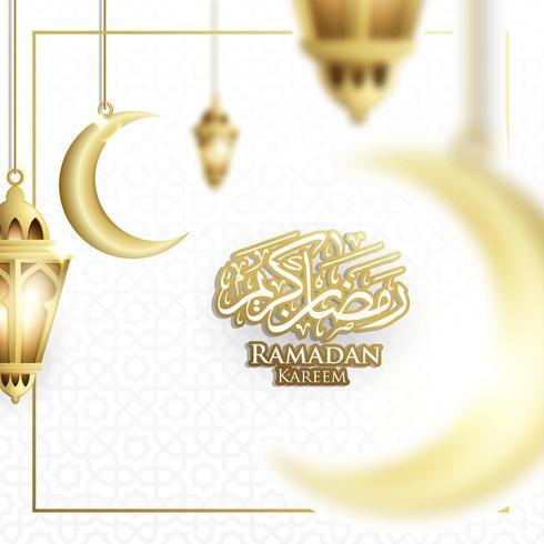 Appeso Ramadan Lantern o Fanoos Lantern & Crescent Moon Background in Blurry Concept. Per banner Web, biglietti di auguri e modello di promozione in Ramadan Holidays 2019. vettore