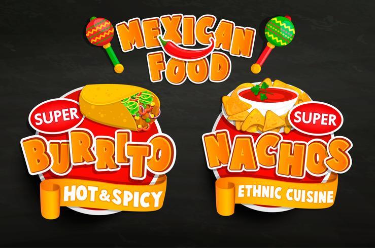Set di emblemi tradizionali cibo messicano, adesivi. vettore