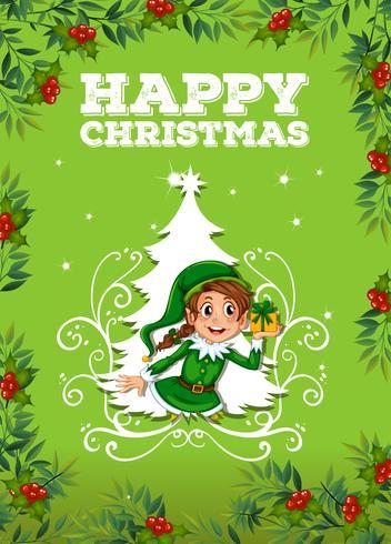 Tema di Natale felice con elfo e presente vettore
