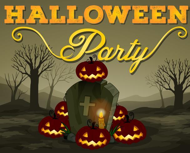 Scena di Halloween del cimitero vettore