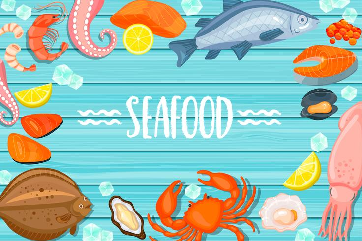 Iscrizione di frutti di mare su fondo di legno blu vettore