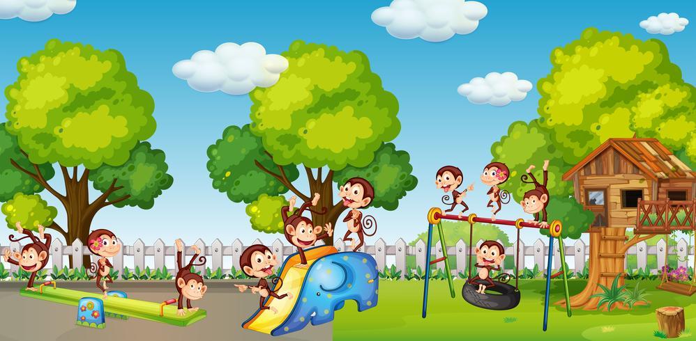 Un gruppo di soldi giocando al parco giochi vettore