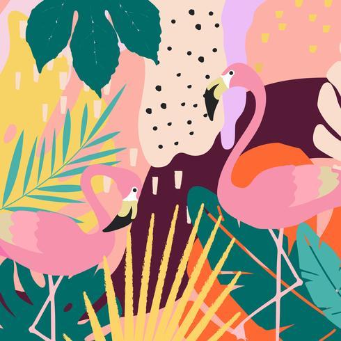 Fondo tropicale del manifesto delle foglie e dei fiori della giungla con i fenicotteri vettore